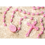 99¢ each Cheap Plastic rosary Catholic cord rosaries on cord inexpensive kids rosary- colors, Luminous, Glow in the Dark, Black, Brown, White, Black, Brown, Red, Green - poly bag, school, teachers class packs