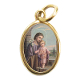 "Saint Joseph Gold Plated medal Color Picture 7/8"" oval Italy"