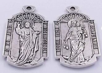 "Large Scapular Medal 1 1/8 x 3/4"" Antique Silver Finish-Large Scapular Medal Antique Silver Finish-Scared Heart of Jesus and Lady of Mount Carmel"