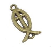 Fish Cross Rosary Connectors/Junction Bronze Finish 2.0cm