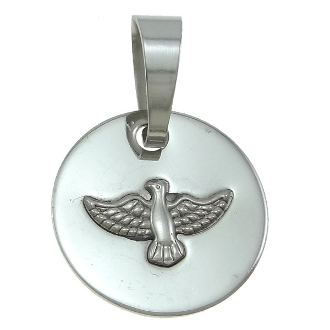 "Holy Spirit Medal Stainless Steel 13/16"" Silver Finish"