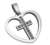 Stainless Steel Cross inside Heart Pendant, with rhinestone