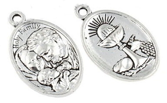 "Chalice/Holy Family medal SILVER ANTIQUE 1"" oval Communion"