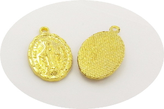 "As Low As $0.10 Each Lady of Grace medal Gold Plated Charm 7/8"" LATIN WORDING"