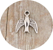 Tiny 3D Holy Spirit Bracelet Charm 1.3 x 1.5cm Antique Silver Finish-Inexpensive Bracelet Charm Silver Catholic medals Bracelet medals Parts Bracelet parts-Measurement does not include eyelet