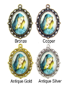 "Color Enamel Silver Oxidized Saint Pendants and Charms 1"" Oval Saint Medals in Color-Inexpensive Catholic Jewelry Enamel Saint Medals Pink, Green, Yellow, Blue, Orange Catholic Patron Saint medals"