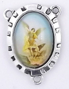 Saint Michael Color Rosary Parts 2.4x1.8cm-Antique Silver finish Madonna and Child with Full Color Picture Glass Dome. Inexpensive Rosary Centers to make rosaries-Center Rosary parts. parts of a rosary rosary supplies rosary centerpieces