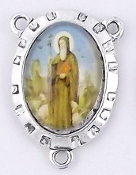 Saint Benedict Full Color Centerpiece Rosary Parts 2.4x1.8cm-Antique Silver finish Madonna and Child with Full Color Picture Glass Dome. Inexpensive Rosary Centers to make rosaries-parts of a rosary rosary supplies rosary centerpieces