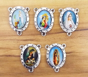 Divine Mercy Jesus Color Rosary Parts 2.4x1.8cm-Antique Silver finish Madonna and Child with Full Color Picture Glass Dome. Inexpensive Rosary Centers to make rosaries-Center Rosary parts. parts of a rosary rosary supplies rosary centerpieces