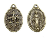 "25/Pc Miraculous medal Bronze Finish 7/8"" Ora Pro Nobis Italy-Regina Sine Labe Originali Concepta (OPN) Ora Pro Nobis, or ""Queen Conceived Without Original Sin, Pray for Us-Shipped as Shown in Picture Miraculous Medal Medal.."