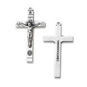 "Beautiful Jerusalem Crucifix Silver Oxidized 1 1/2"" x 7/8"" Rosary Part"