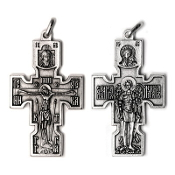 "Saint Michael Crucifix Silver Oxidized Finish 2 x 1 1/4"" Italy Rosary Part"