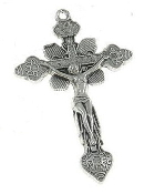 "Ornate Vintage style Crucifix Silver Antique 1 3/4"" Rosary Parts"
