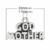 Godmother Charm Antique Silver Finish 2.2x1.0cm cut-out wording