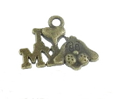 100/Pkg Love my Dog Charm Bronze finish W-1.7cm