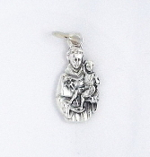 TINY Saint Anthony of Padua Charm Silver Oxidized medals 1.8cm