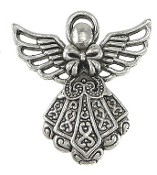 3D Silver Antique Angel Charm 2.3 x 2.3cm