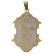 "Stainless SteelSaint Michael medal 1 1/2"" x 1"" Gold finish finish- Necklace pendant Wholesale"