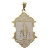 "Stainless Steel Lady of Grace medal 1 1/2"" x 1"" Gold finish finish- Necklace pendant Wholesale"