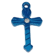 "Small Blue Finish Cross with rhinestone 7/8"" Metal"