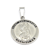 "Stainless Steel Saint Christopher medal with Serenity Prayer 1""- Necklace pendant Wholesale"