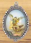 "St Michael Pendant Color Picture 2"" with Stainless Steel Chain picture Large Deluxe Picture charms - Catholic Medals in Full Color Picture"