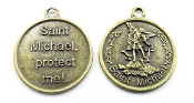 "10/Pc Saint Michael Medallion PROTECT ME! 1 1/8"" Bronze Finish Large Saint Michael The Archangel Medal"