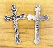 "Beautiful Crucifix Silver Finish 1 1/2"" Rosary Part Jerusalem"