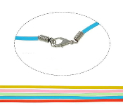 "100/Pkg -17.5"" Rubber Necklace Cord, Mixed Colors w/5cm extender"