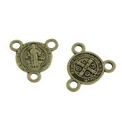 Miniature St Benedict Bronze Finish Rosary Center 1.0cm Rosary Parts wholesale