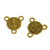 Miniature St Benedict Antique Gold Finish Rosary Center 1.0cm Rosary Parts wholesale bulk