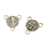 Miniature St Benedict Antique Silver Finish Rosary Center 1.0cm Rosary Parts BULK