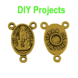 DIY Fatima Antique Gold Finish Rosary Centerpieces 1.6cm Rosary Parts