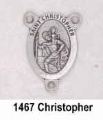 "Saint Christopher Silver Finish Rosary Centerpieces 7/8"" Rosary Parts"