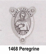 "Saint Peregrine Silver Finish Rosary Centerpieces 7/8"" Rosary Parts-PRAY FOR US On back Silver Plated finish."