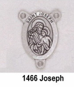 "PRAY FOR US On back Silver Plated finish. Saint Joseph Silver Finish Rosary Centerpieces 7/8"" Rosary Parts rosary parts"