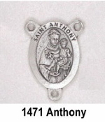 "PRAY FOR US On back Silver Plated finish. Saint Anthony Silver Finish Rosary Centerpieces 7/8"" Rosary Parts"