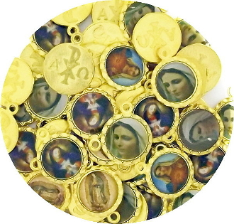 Mixed Holy Catholic medals Color Picture Gold Finish