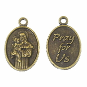 50/Pkg Small Oval Saint Anthony medal Bronze Finish 5/8""