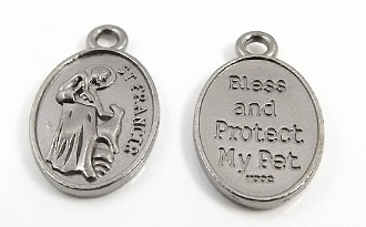 "75¢ St Francis Medal Bless & Protect my Pet Gun Metal finish PET Medal Bless Protect Pet 1"" Saint Francis of Assisi Pet medals wholesale"