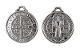 "Saint Benedict Jubilee Metallic Silver Medal 7/8"" ROUND Gun metal Finish-Bell Shaped eyelet Deluxe Gunmetal Metallic Silver Saint Benedict Medal charm- coated with an old-fashioned heirloom finish. Its antiqued finish will provide the elegant.."