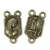 TINY Bronze Finish Our Lady of Fatima Rosary Centers 1.1x0.8cm-Measurement does NOT include eyelet - rosary parts and supplies""