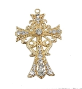 "Fleur-de-lis cross Large Cross Cross 23 Clear Crystal's Gold Finish 3 1/4"" x 2 1/4"" Metal - Measurement does not include eyelet Hand Made"
