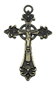 "Charming Large Bronze finish Catholic Crucifix 2 1/2"" x 1 5/8"" Rosary Parts"