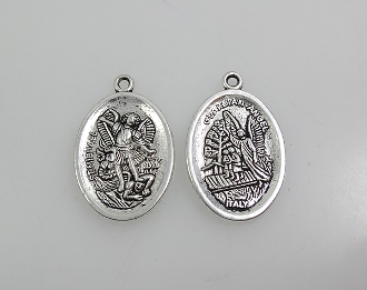 "St Michael and Guardian Angel Medal Antique Silver oval 1"" Italy"