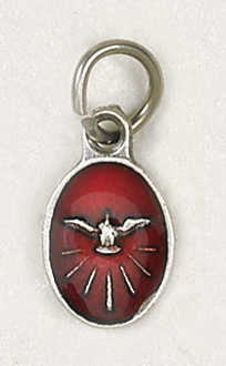 "BRACELET PARTS Catholic medals Tiny Oval Holy Spirit medal Charm 1/2"" RED Enameled"