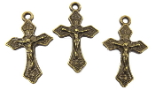 "Small Bronze Finish Crucifix Cross 1"" x 11/16"" Rosary Bracelet Part-Necklace-Inexpensive Small Crucifix Rosary parts-Crucifix Charms, Necklace--Rosary Crucifixes Pendant--Crucifix to make rosaries"