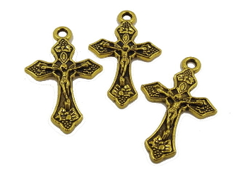 "Small Antique Gold Finish Crucifix Cross 1"" x 11/16"" Rosary Bracelet Part-Necklace-As Low As $0.39"