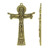 Large Holy Trinity Cross Antique Gold Finish Crucifix Large 2 7/8""