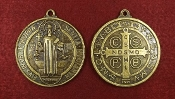 "LARGE Saint Benedict Jubilee BRONZE Finish Medal 1 7/8"" ROUND WHOLESALE CATHOLIC MEDALS, CROSSES, CRUCIFIXES"